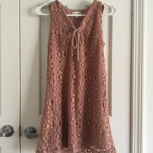 LACE OVERLAY LACE-UP DRESS
